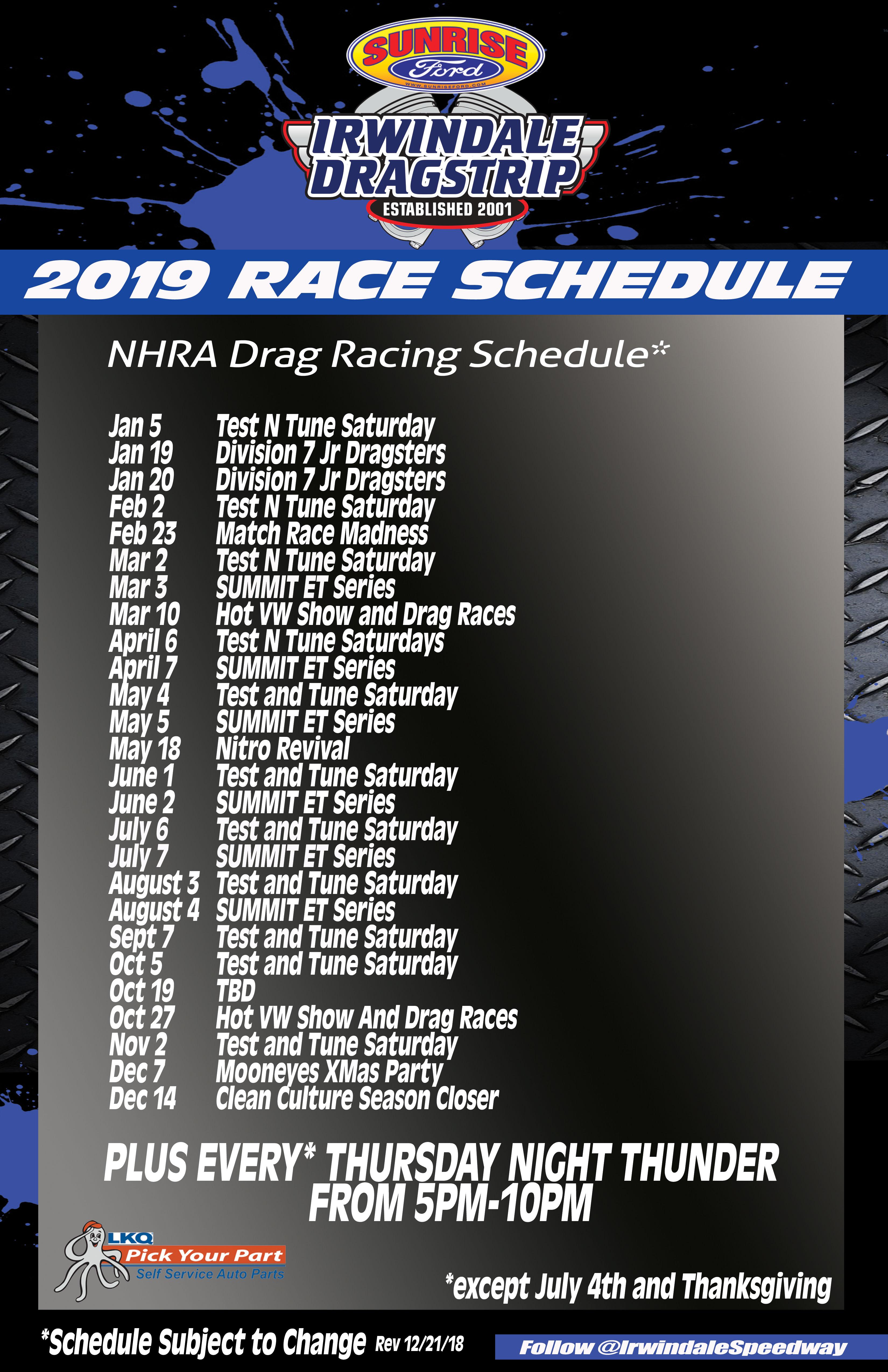 2019 Nhra Schedule Irwindale Speedway and Drag Strip Announces 2019 Schedule